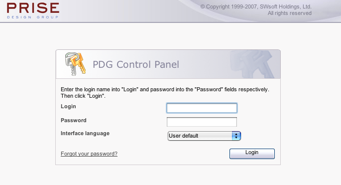 Modified Plesk Login Page