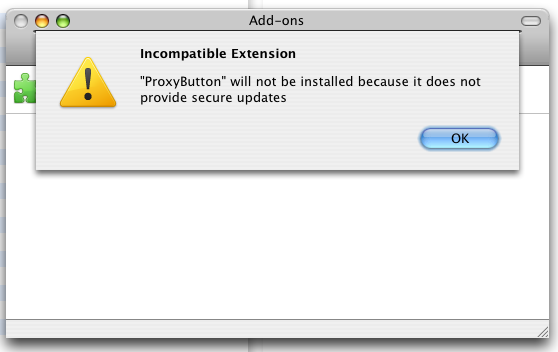 "Screen capture: Firefox ""secure updates"" extension error"